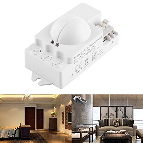 Sensore di Movimento a Microonde Montaggio Interno di Lampade, Rilevatore di movimento a microonde - interruttore del sensore a microonde - Sensore di movimento radar a 360 °, 500w
