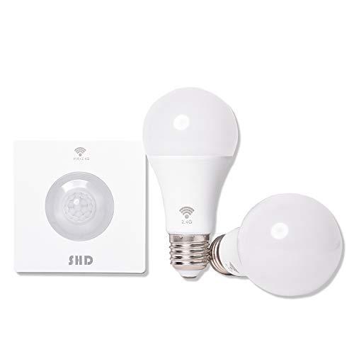 SHD LED E27 Set con 2 lampadine e sensore di movimento wireless, raggio di rilevamento fino a 8 m, 9 W, 800 lumen, 4000 K, bianco neutro, set di lampadine con sensore di movimento