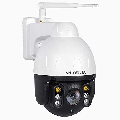SHIWOJIA Telecamera Wifi Esterna Wireless,1080P PTZ Dome Telecamera di Sorveglianza con Visione Notturna a Colori, Scocca in Metallo Videocamera di Sicurezza, Audio a 2 Vie, Tracciamento Automatico