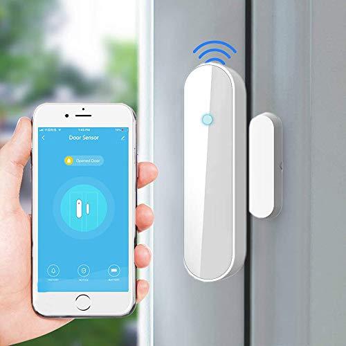 Sistema di allarme di sicurezza,1pcs Rilevatore porta Tuya WiFi Rilevatore porte e finestre Sensore apertura compatibile con Alexa Google Home smart life