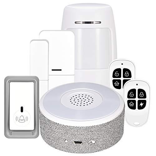 Sistema di allarme per la casa, senza fili, sistema di allarme completo con 1 sirena, 1 PIR, 2 telecomandi e 2 sensori per porte da finestra, allarme per porta, app tramite rete mobile