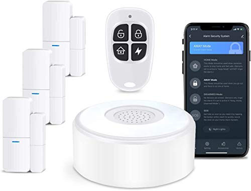 sistema di allarme WIFI completo con 3 finestre e allarme per porta, 1 telecomando, utilizzato per casa,antintrusione su finestre e porta del,sistema di allarme controllato tramite app