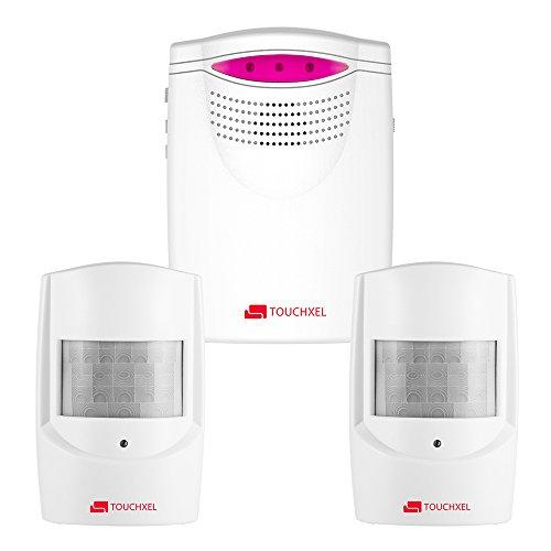 Sistemi di Allarme, TOUCHXEL Rilevatori di Movimento Domestico Kit Allarme Casa Wireless per Vialetti e Sicurezza, 1 Ricevitore e 2 Rilevatori di Sensori di Movimento PIR Resistenti Intemperie