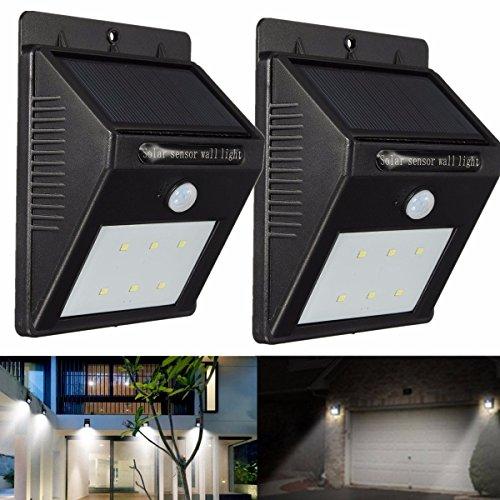 Solare Giardino, GLISTENY 2Pack Luci per Esterno Solari Impermeabile con Sensore di Movimento con 6 Lampadine LED per Parete, Muro, Giardino, Terrazzino, Cortile, Casa, Corraio ecc 6LED