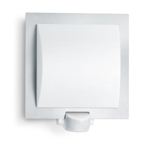 Steinel Lampada da esterno L 20 argento, lampada da parete con rilevatore di movimento a 180°, portata 10 m, antiurto, E27, max. 60W, 23 x 24 x 8 cm, 035693