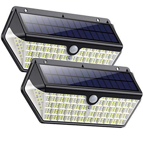 SWEYE Luce Solare Led Esterno 266LED,【Nuova Versione-Super Iuminosa 2500lm/2200mAh】Lampada Solare Luci Solari Impermeabile IP65 con Sensore di Movimento Lampade Solari da Giardino 3 Modalità-2 Pezzi