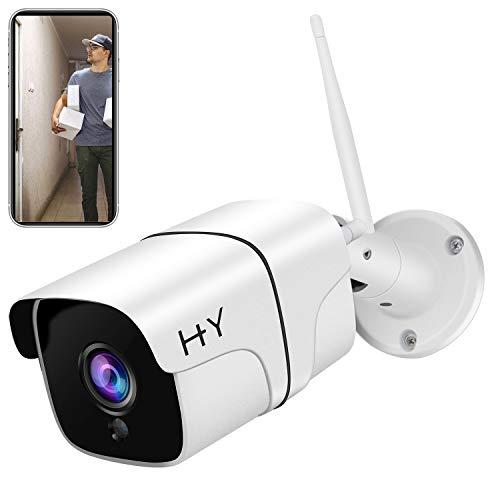 Telecamera Wi-Fi Esterno FHD 1080P, Wireless Telecamere di Sorveglianza WiFi 2.4G, Telecamere IP per Visione Notturna HD,Rilevamento del Movimento, Impermeabili con Visualizzazione Remota