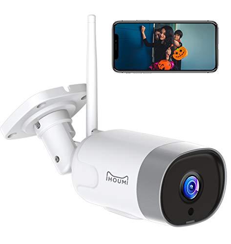 Telecamera wi-fi esterno,Alexa/NVR/RTSP FHD 1080P Telecamera IP esterno IHOUMI,Telecamera wi-fi interno con impermeabile IP66, visione notturna, rilevamento del movimento, audio bidirezionale