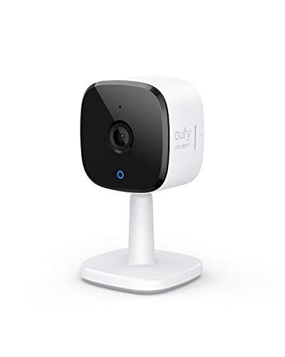 Telecamera wi-fi interno eufy Security 2K, videosorveglianza domestica, AI per il riconoscimento di persone/animali, assistenza vocale, visione notturna, non richiede HomeBase, microSD non inclusa