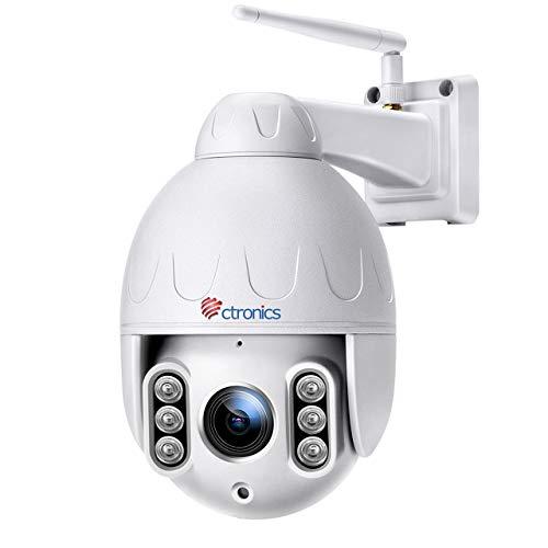 Telecamera Wifi Esterna senza fili, Ctronics 1080P PTZ IP Dome Telecamera di Sorveglianza, 4 X Zoom Ottico, Pan 360 °, Visione Notturna fino a 50m, Audio a 2 Vie, Motion Detection, Impermeabile