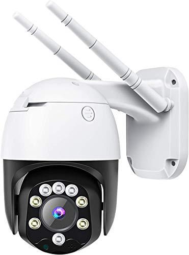 Telecamera wifi esterno con Visione Notturna, 1080p PTZ Zoom Digitale IP Videocamera di Sorveglianza con Pan 320° e Tilt 90°, Auto Tracking, Rilevazione Umana, Audio Bidirezionale