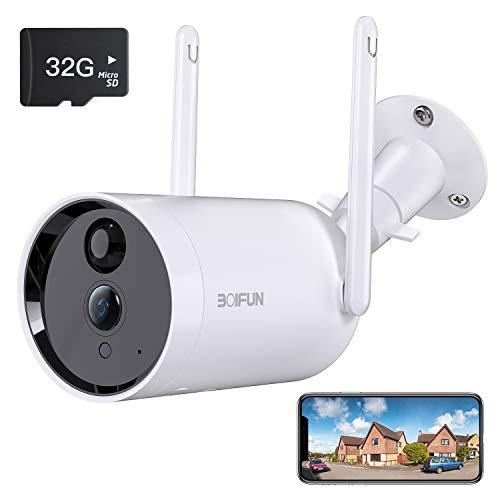 Telecamera WiFi Senza Fili da Esterno,[Scheda SD da 32 GB Installata] BOIFUN Sicurezza Sorveglianza con 10400 mAh Batteria,1080P, Rilevamento del Movimento Umano, Audio Bidirezionale, Visione Notturna