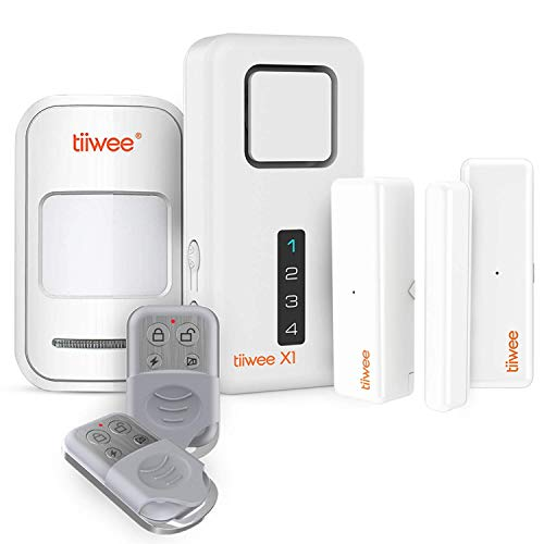 Tiiwee X1-XLPIR Allarme Casa Senza Fili con Sirena X1 da 120 dB, 1 Rilevatore di Movimento, 2 Sensori per Finestre Porta e 2 Telecomandi - kit antifurto - Batterie Incluse –Sicurezza Domestica