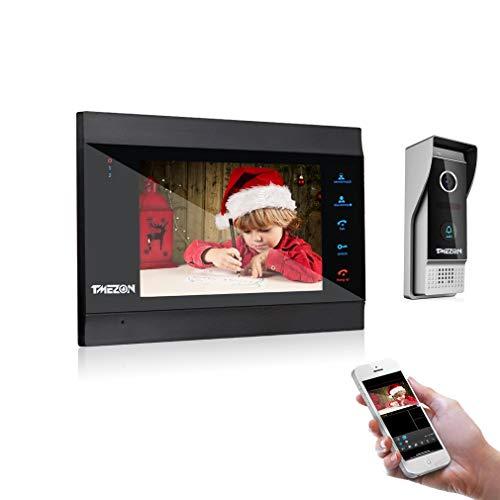 TMEZON 1080P IP Sistema Videocitofonico Con Citofono,7 Pollici Monitor Con Telecamera Esterna Cablata, Registra video o foto, Connessione WiFi TuyaSmart APP