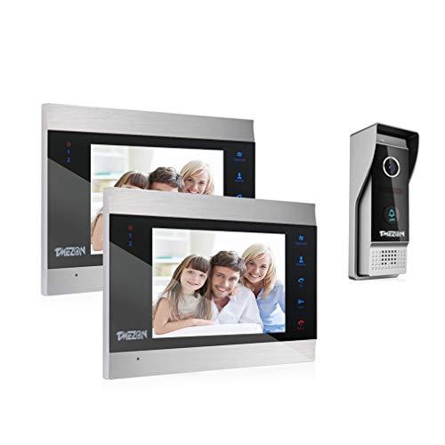 TMEZON 1080P Videocitofono 7 pollici LCD Video Door Phone,2x Monitor Touch Screen,1x1080p citofono Campanello Telecamera Esterna Vista Notturna,Audio Bidirezionale,Supporto Registrazione/Istantanea