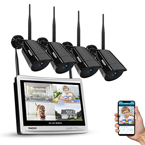 """TMEZON 8CH DVR con Monitor LCD da 12"""",Kit di Sorveglianza Videosorveglianza Wifi,Sistema di Videosorveglianza 1080P, 4 telecamere Plug e Play Motion Detection Visione Notturna Accesso Remoto 1TB HDD"""