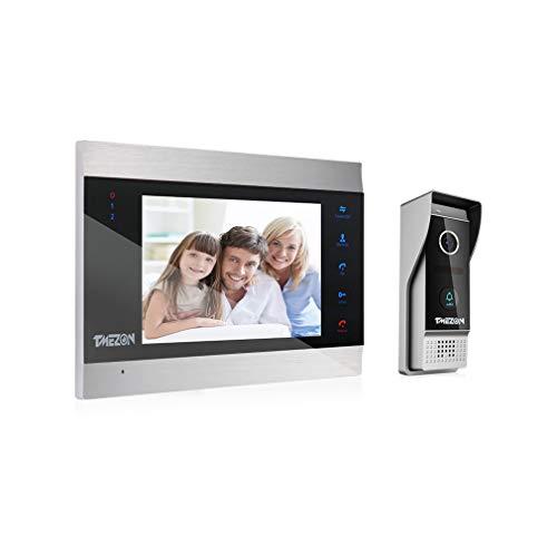 TMEZON HD 1080P Videocitofono Visivo Door Phone,7 pollici Cablata LCD Monitor,1080p citofono Campanello Telecamera Esterna Vista Notturna,Impermeabile,Audio Bidirezionale,Registrazione/Istantanea