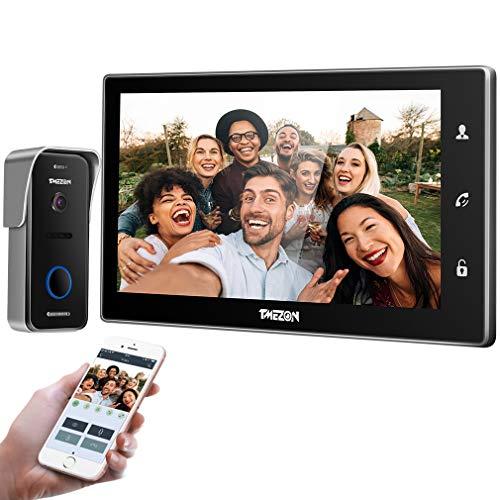 TMEZON IP Videocitofono Intercom nero,10 pollici IP wifi Monitor Citofoni Touch Screen,720P Campanello Telecamera cablata Visore notturno,conversazione/visualizzazione,smartphone Sblocco remoto