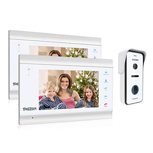 TMEZON videocitofono HD 1080P 7 Pollici 4 fili Visivo Door Phone,2*Monitor LCD Touch screen 1*Campanello Telecamera Esterna Vista Notturna,Registrazione/Istantanea,Audio Bidirezionale,IP65