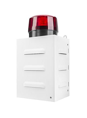 TR 1radiocomandati sirena di allarme per l' emergenza (telecomando, esterni, 100DB, corpo in metallo, funzionamento a batteria, Indicatore LED, luce del flash) Bianco