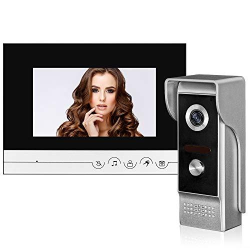 uoweky 7 '' TFT Color Wired Videocitofono Videocamera Campanello per Porta Videocitofono con IR 700TVL Metallo Unità Esterna per la Casa (1 Camera 1 Monitor)