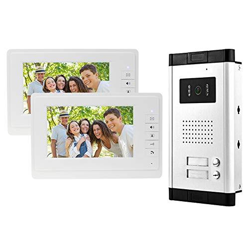 uoweky Videocitofono IR da 7 '' Videocitofono a Colori via Cavo a Colori Telecamera per Visione Notturna IR + Schermi di Controllo Interni per Reparto 2/3 (2 Appartamento)