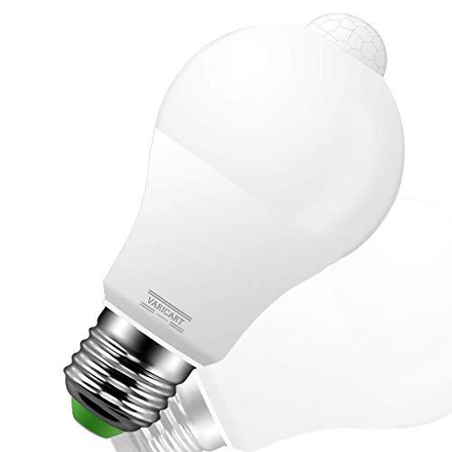 VARICART E27 10W PIR Rivelatore di Movimento a Sfera, Lampadina Tonda LED Attacco Vite Edison,100W Incandescenza Equiv. 1000lm, Larghezza Angolo Fascio 270°,Colore Bianco Freddo 6000K(Confezione da 1)