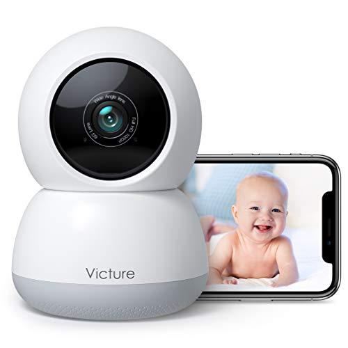 Victure Baby Monitor, 1080P Telecamera Wi-Fi Interno, Videocamera Babyphone per Bambini e per Animali Domestici, Visione Notturna, Rilevazione del Suono e del Movimento con Audio Bidirezionale