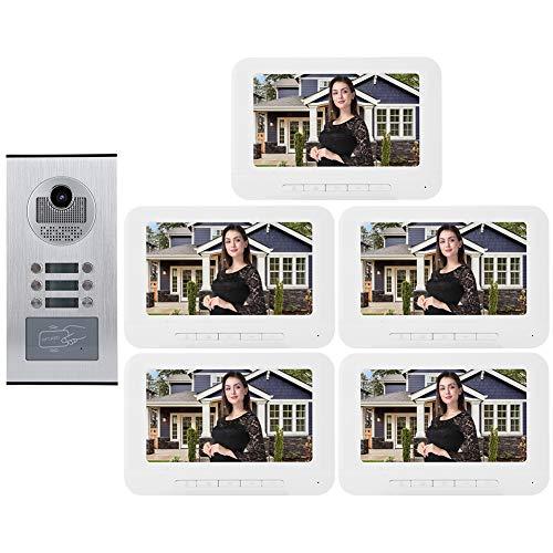 Videocitofono, Visivo Door Phone, Citofono Video Con 5 Display, 1Una Macchina Esterna Impermeabile, Visione Notturna Super Lontana, Citofono Vocale a Due Voci, 7 Pollic Display a Colori HD.