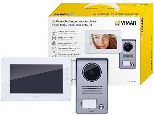 Vimar K40910 Kit Videocitofono Monofamiliare da Parete, Grigio la Targa e Bianco Il Monitor