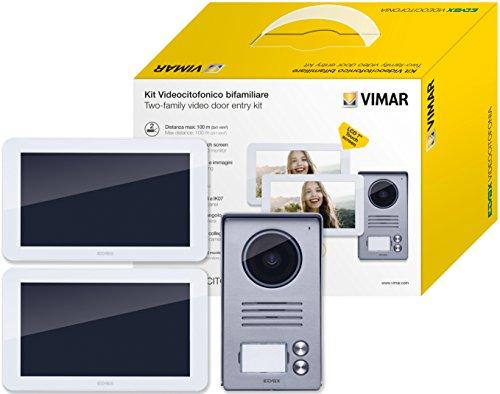 """Vimar K40916 Kit Videocitofono 7"""" Touch Screen Bifamiliare con Alimentatore Multispina, Grigio la Targa Esterna-Bianco Il Monitor"""