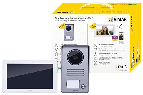 Vimar K40945 Kit videocitofono smart monofamiliare con monitor touch screen vivavoce WiFi , targa audiovideo 1 pulsante con cornice parapioggia, 1 alimentatore multispina