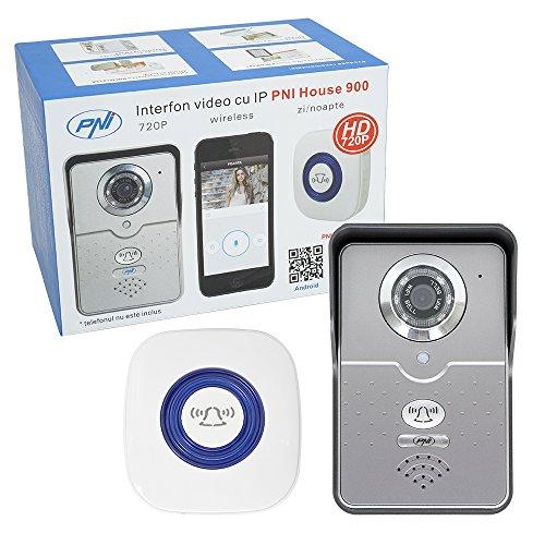 Wireless IP Video Doorbell, Campanello Senza Fili Impermeabile con videocamera HD 720P, PNI House 900, P2P, Intercom, slot micro SD, applicazione dedicata iOS/Android, rilevazione del movimento, invia