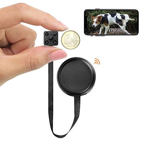WIWACAM Mini telecamera con app, supporto in Germania, 1080P HD IP, telecamera interna con Wi-Fi, mini telecamera di sorveglianza con sensore di movimento, visione notturna, MW9