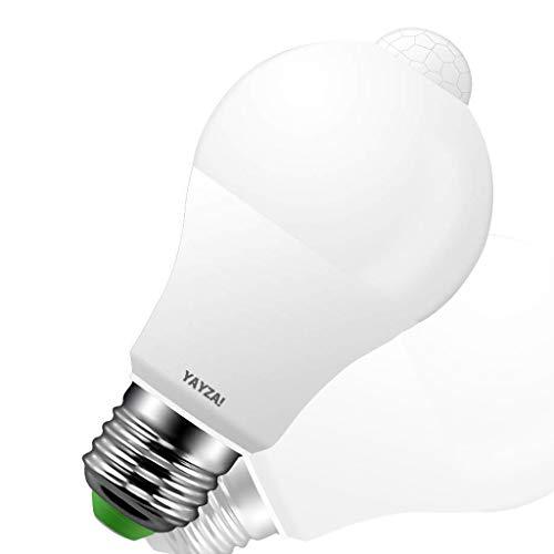 YAYZA! 2-confezione Premium E27 10W Lampada LED Vite a Edison Sensore di Movimento PIR IP44 Sicurezza con Sensore Fotocellula Integrato dal Tramonto all'Alba 1000lm 100W Equiv. 6000K Bianco Freddo