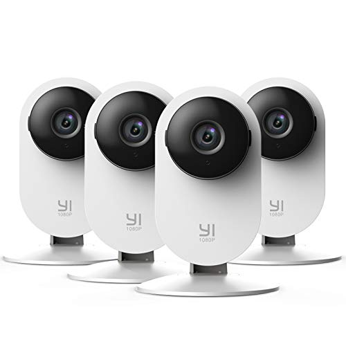 YI Home Camera 1080p Kit da 4, Ip Camera Wifi Interno, Telecamera Wi-fi Interno con Rilevamento Smart,Visione Notturna non Invasiva,Notifiche Push,Audio Bidirezionale per telefono,laptop,pc desktop