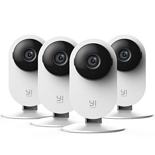 YI Home Camera 1080p Kit da 4, Ip Camera Wifi Interno, Telecamera Wi-fi Interno con Rilevamento Smart,Visione Notturna non Invasiva,Notifiche Push,Audio Bidirezionale per telefono,laptop,pc desktop