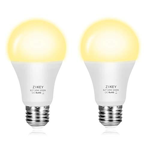 ZIKEY 10W E27 Lampadine LED con Sensore, Bianco Caldo 3000K 800lm, Crepuscolare Automatico On/Off per Veranda, Corridoio, Patio - 2 Pezzis