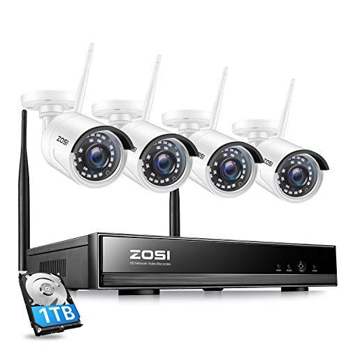 Zosi 1080p Wireless NVR 8 Canali Con Hard Disk 1TB e 4pcs Telecamere di Videosorveglianza Wifi H.265+ Sistema di Telecamere di Sicurezza Kit Allarme Domestico Esterno Mition Alert Accesso Remoto