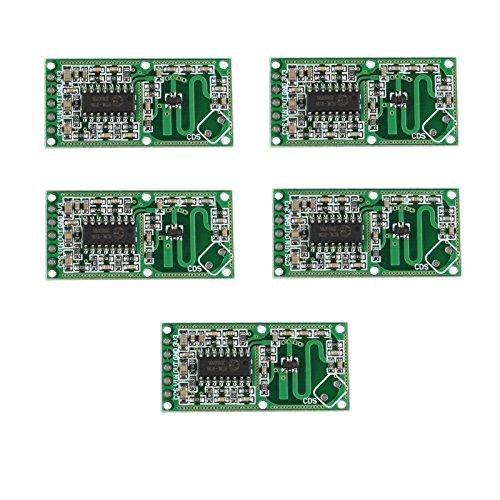 HALJIA 5Pcs rcwl-0516 sensore corpo umano induzione interruttore modulo ad alta sensibilità Compatibile con Arduino, lunga distanza ampio angolo di rilevamento per rilevare oggetti in movimento