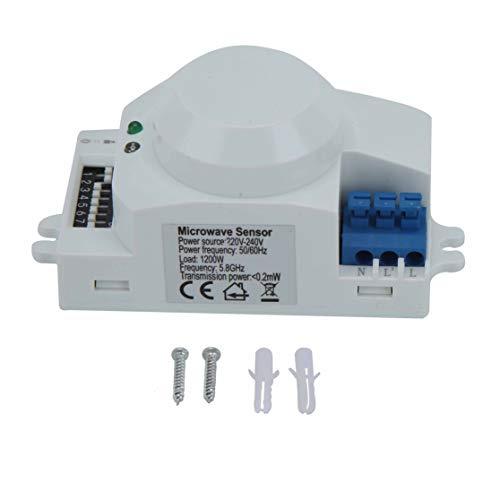 Interruttore del sensore a microonde a 360 gradi, interruttore della luce del sensore radar del rilevatore di movimento intelligente basato su per garage Magazzini Corridoi Scale(220V-240V SK-700)
