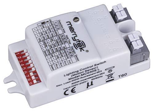 Merrytek Rilevatore di Movimento Microonde HF Radar con Sensore di Luce Portata 6m per LED fino a 400W
