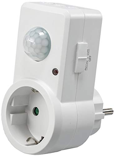 Presa adattatore con rilevatore di movimento, portata 120°-9 m, 230 V, 1200 W, LED di colore bianco, 21055