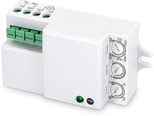 Sensorshop24 rilevatore di movimento HF a 360°, con sensore crepuscolare, 230 V, adatto per i LED