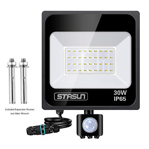 STASUN Faretto con Sensore di Movimento 30W, Faro LED Esterno, IP65 Impermeabile LED Esterno, Illuminazione Bianco Freddo 6000K 2700LM, Lampada a Rsparmio Energetico a LED per Cortile